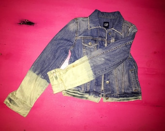 Vintage/Denim/Jacket/Bleached/Faded/Tathered/Upscaled/Gap
