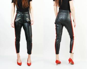 80s Motorcycle Pants / Moto Pants / High Waist Pants / Leather Pants / Woman Leather Pants / Taper Leather Pants / Woman Moto Pants