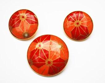 Orange Brooch pendant Earring Set - Red gold - Mod modern - pierced earrings - Geometric Flower Floral - Round - Vintage jewelry