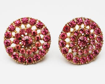 Rhinestone  Coro Earrings - Pink Round - mid century - screw back Earring - Gold plated metal