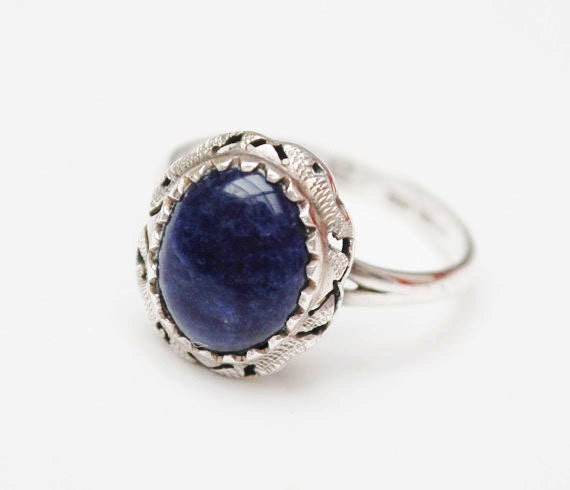 Blue Sodalite ring - Sterling silver- Gemstone  -  size 6 ring
