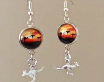 Sun set kangaroo Earrings