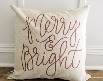 Calligraphy Merry & Bright Pillow Cover (Red)