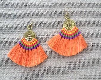 Orange Tassel Fan Hoop Earrings Colorful Tassle Earings BOHO  Earrings Gypsy Tassle Jewelry Trending Now Wholesale Jewelry Gift for Women