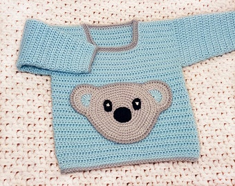 CROCHET Pattern - Baby Sweater Pattern - 3 sizes - Bear Pocket - Crochet Bear Sweater - Baby Crochet Top - Crochet Bear Pocket