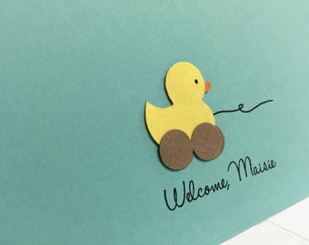 Personalized Welcome Baby Duck Toy Greeting Card