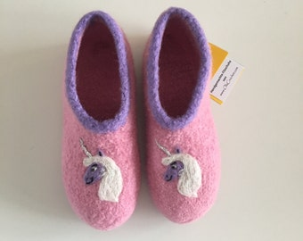 "Children felt House shoes ""Unicorn glitter horn"""