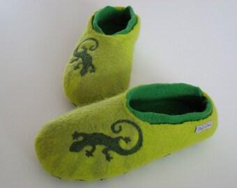 Lizards felt shoes wet felted Gr. 38