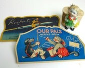 Two Vintage Needle Books and a China Hand Painted Figural Little Girl Pin Cushion - Our Pals and Rocket Needle Book