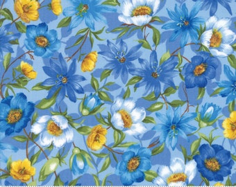 SUMMER BREEZE IV - #33280-13 - Spring Garden Light Blue - by Sentimental Studios for Moda - Blues - Yellows - Classic