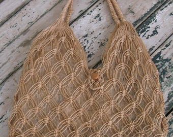 1970's Airy Vacation Tote// Farmers Market// Woven// Beach Bag