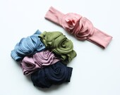 Jersey Knit Flower Headband - Baby to Adult Headband - Choose Your Color