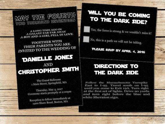 Star Wedding Invitations: Set Of 150 Star Wars Wedding Invitations, RSVP Cards
