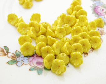 Lemon Yellow Luster Small Bell Flower Beads 7x5mm Czech Glass Preciosa Flower Cup Beads - 25