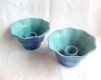 Vintage Winfield Pottery Floriform Candlesticks - Pasadena California - 1930s Studio Pottery - Blue Turquoise Green Bi-color Ceramic