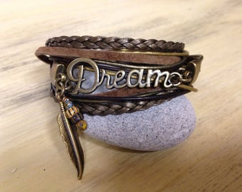 "Leather Wrap Bracelet ""May All Your Dreams Come True"" Inspirational Boho style Earthtone Leather and Feather Tribal Bracelet Yoga Bohemian"