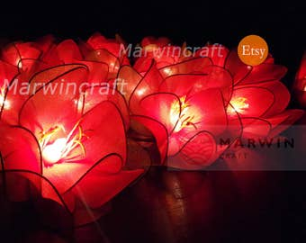 20 Big Red Loyal Lotus Flower Fairy String Lights Night Floral Party Patio Wedding Garland Gift for her Home Living Bedroom Holiday Decor