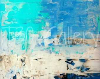 Digital Download - Opposite, Blue and Beige Abstract Artwork