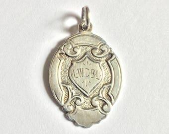Antique Sterling Silver Watch Fob, 1948 Championship medal, Biringham Hallmark, Solid Silver Medal