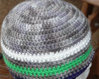 Seattle seahawks support colors grey toned  crochet beanie hat