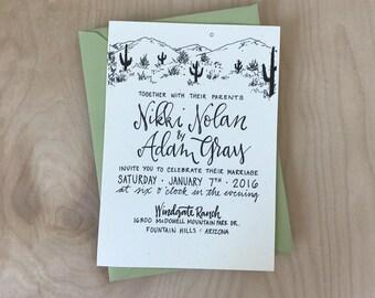 Cactus Wedding Invitation / Cacti Wedding Invitation / Cactus Invitation / Desert Wedding Invitation / Cacti Invitation / Desert Invitation