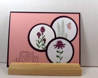 Happy Birthday Fields of Colorful Stamped Wildflowers(B-0013) Birthday card/Blooming Flowers/happy birthdayf/or her