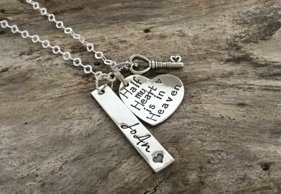 Memorial Necklace - Half My Heart is in Heaven - Sterling Silver Memorial Necklace - Remembrance Necklace - Personalized Memorial Jewelry