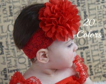 Red Flower Headband, Girls Headbands, Toddler Headband, Baby Headband, Headbands For Girls, Large Flower Headband, Newborn Headband
