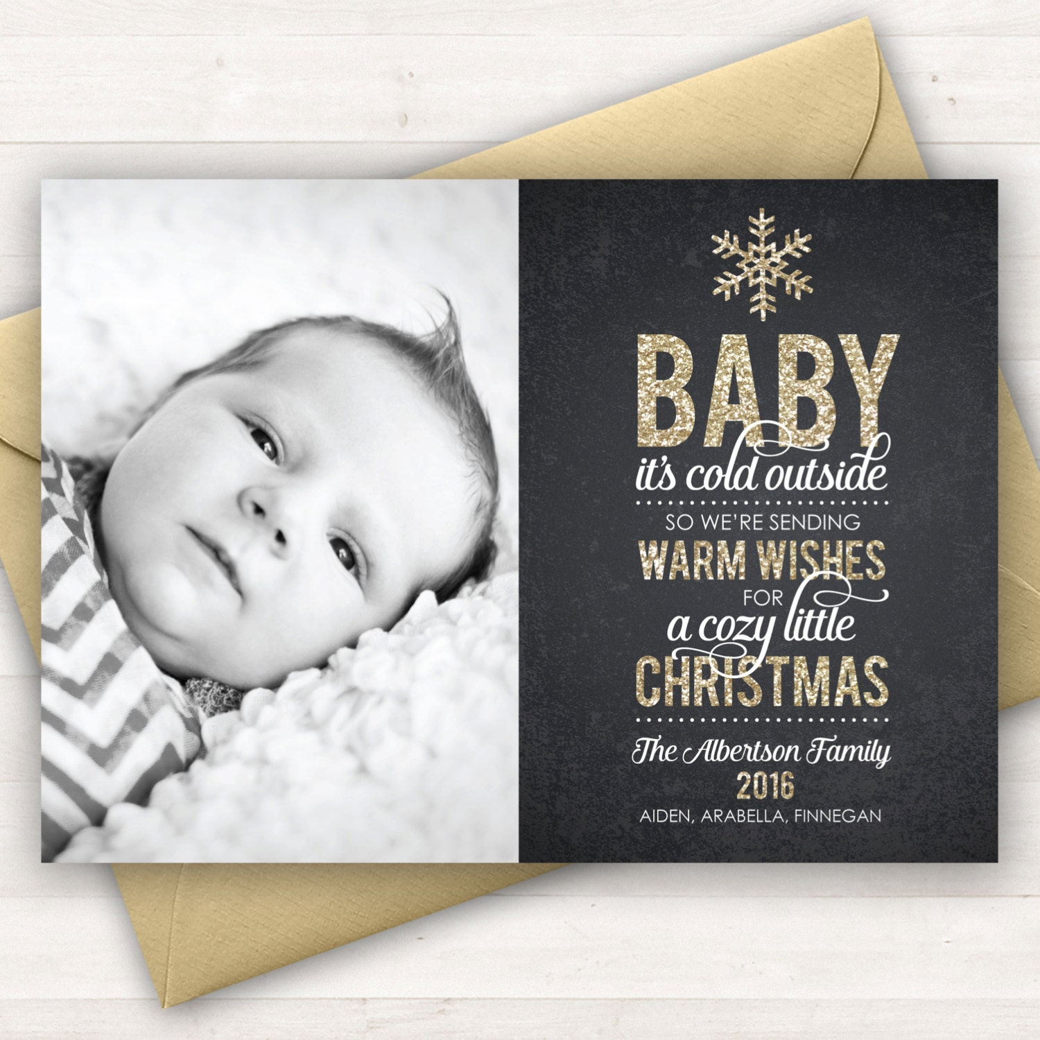 Photo Christmas Card Baby It's Cold Outside Baby's