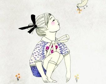 """A5 A4 A3 Art print """"Hey!"""" (Kinu serie) (limited edition)"""