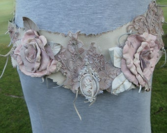 Romantic Pink Leather and lace Cameo Belt