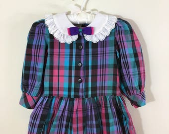 80s Turquoise Purple Plaid Peter Pan Collar Drop Waist Dress, Toddler Size 2T