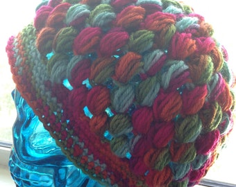 Multi-color Puff Stitch hat- Ready to Ship