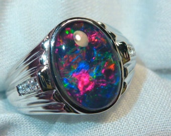 Mens Opal Ring Sterling Silver, Natural Opal Triplet. 13x9mm Oval. item 060680.