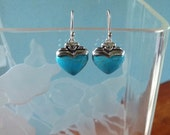 Vintage Sterling Silver and Turquoise Heart Earrings, Valentine's Day Gift, Blue Gemstones Hearts, Love, RP