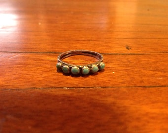 Vintage Old Pawn Ring, Turquoise & Sterling Silver Ring, Size 5.25, Southwestern Boho Chic Hipster Jewelry, Great Gift, RP