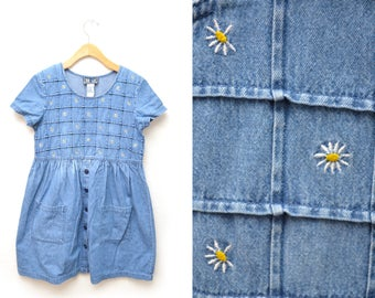 90s Denim Dress Embroidered Flowers Womens Small Medium