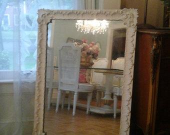 Tall vintage white mirror