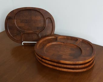 Set of 4 Digsmed Teak Serving Trays