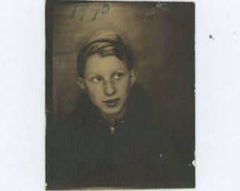 Vintage PhotoBooth Arcade Photo, 1940: Young Boy (75578)