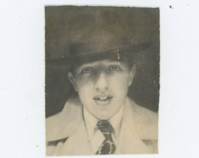 Vintage PhotoBooth Arcade Photo, c1940s: Teenage Boy in Fedora Hat (75578)