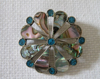 Sterling Silver Abalone Turquoise Inlay Pendant and Pin