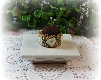 Petite Gold and Roses Pin Cushion