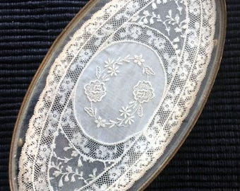 Antique Vanity Tray with Lace Insert