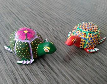 Turtle alebrije pair from Oaxaca, Mexico- Oaxacan folk art - Mexican wood carving