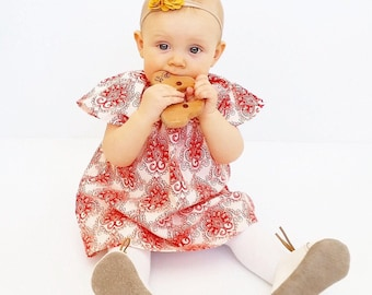Dress and Bloomers Set for 12 to 18 months Red Flourish on Ivory