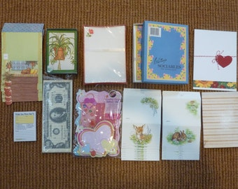 SALE Vintage Stationery Set Writing Paper Envelopes Collection Letters Cards Pads Supply Lot