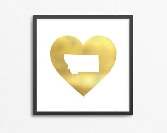 Gold Foil Heart Montana State Print -I Love Montana - Silhouette  (No Frame)
