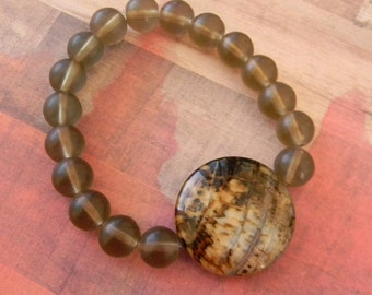 Smooth Agate Beaded Stretch Bracelet with Smokey Quartz Beads