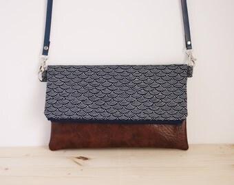 Japanese bag, seigaiha handbag, japanese crossbody bag, blue foldover bag, japanese shoulder bag, blue clutch - Blue Seigaiha